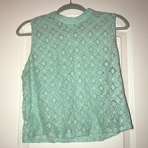 F21 blue lace see through top